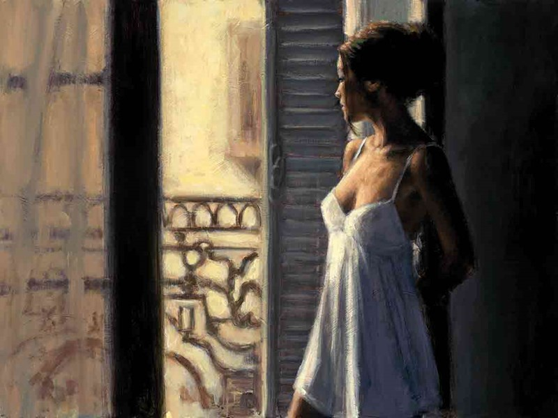 Image: Balcony at Buenos Aires X by Fabian Perez | Limited Edition on Canvas